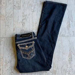 LA Idol Dark Wash Embellished Pocket Bootcut sz 31